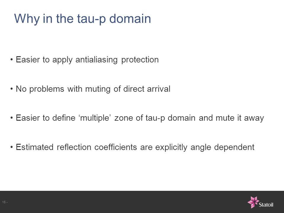 Why in the tau-p domain Easier to apply antialiasing protection