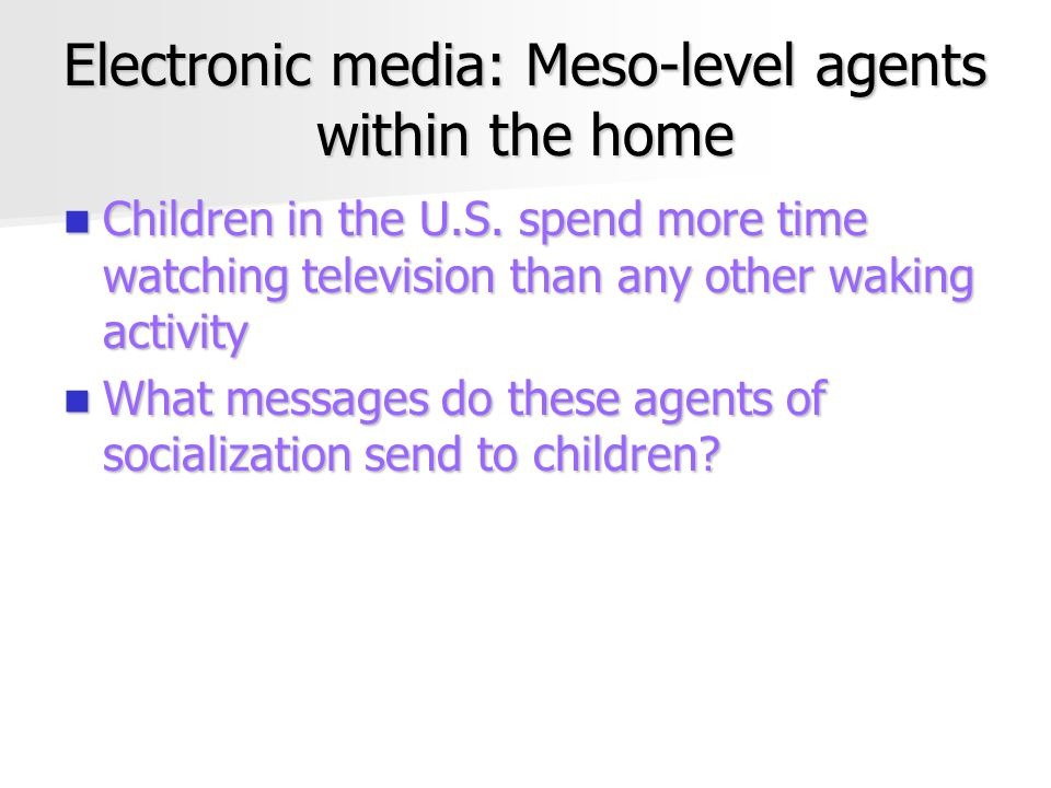 Electronic media: Meso-level agents within the home