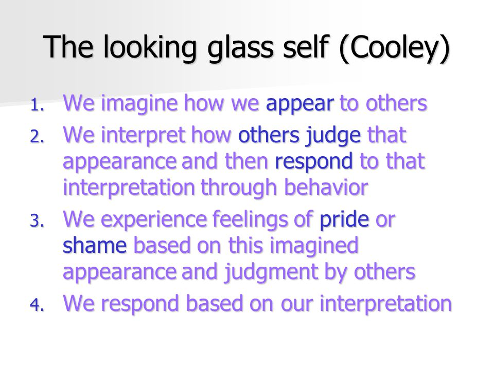 The looking glass self (Cooley)