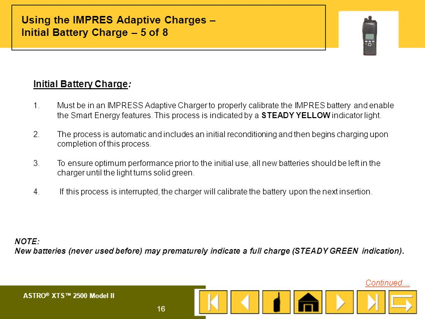 Using the IMPRES Adaptive Charges – Initial Battery Charge – 5 of 8