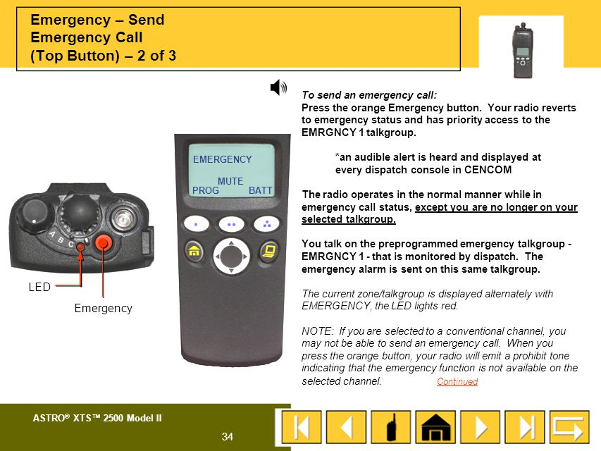 Emergency – Send Emergency Call (Top Button) – 2 of 3