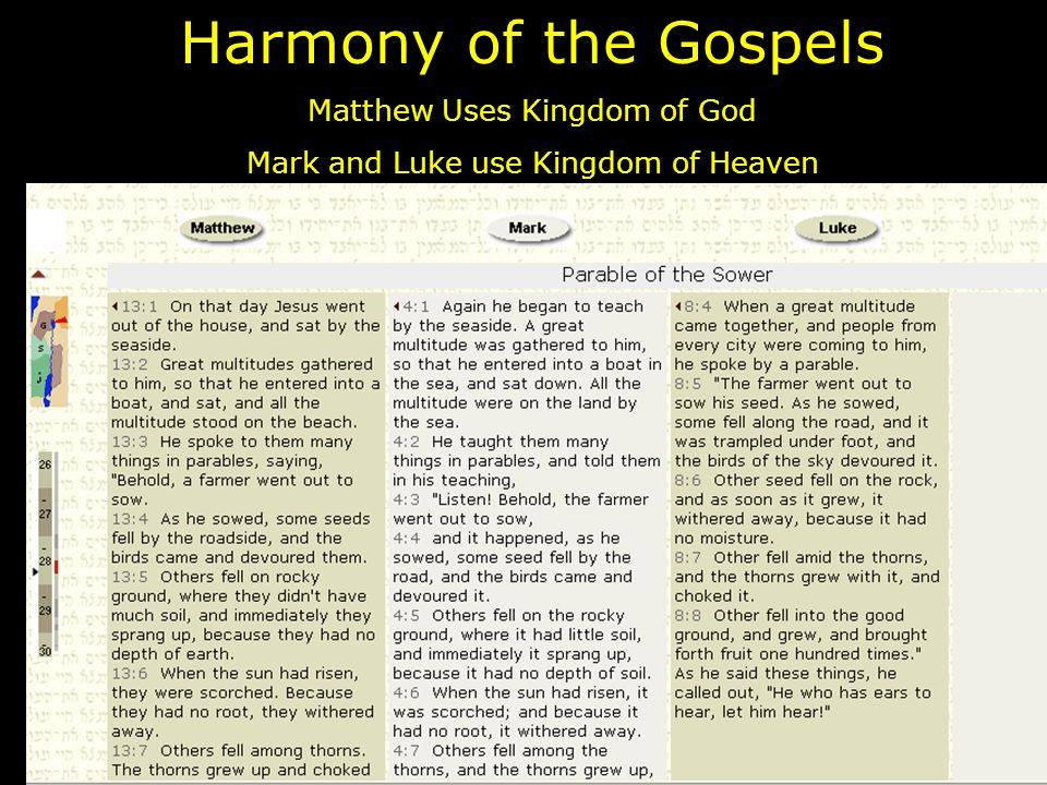 Harmony of the Gospels Matthew Uses Kingdom of God