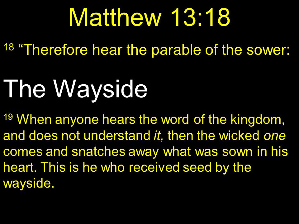 Matthew 13:18 The Wayside 18 Therefore hear the parable of the sower: