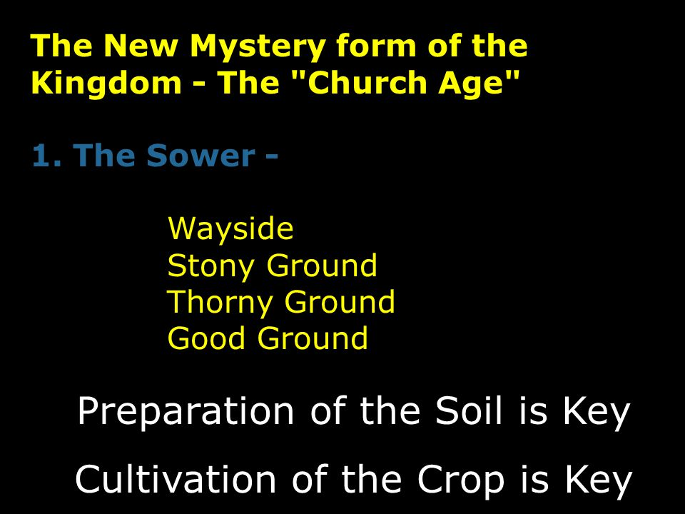 Preparation of the Soil is Key Cultivation of the Crop is Key