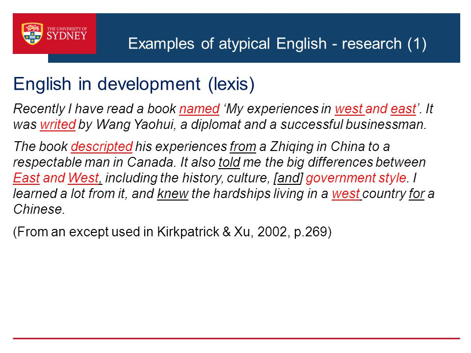 Examples of atypical English - research (1)