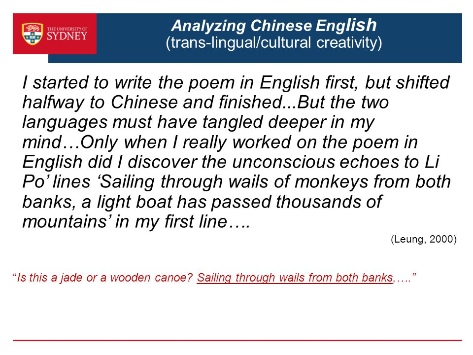 Analyzing Chinese English (trans-lingual/cultural creativity)