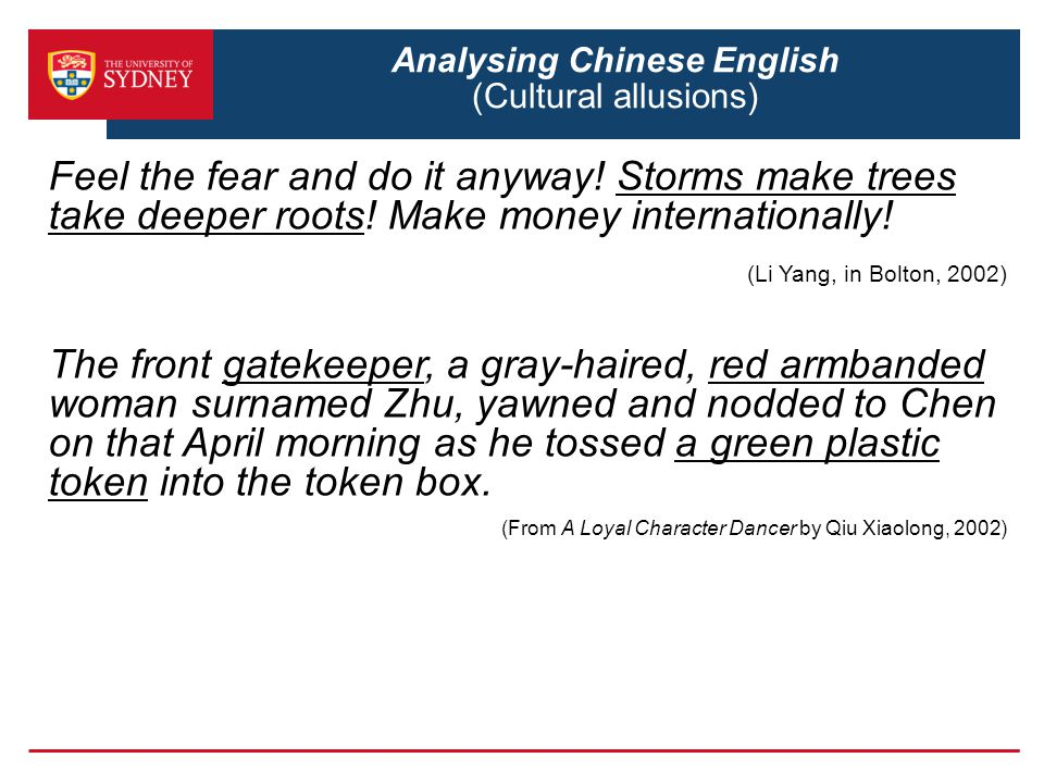 Analysing Chinese English (Cultural allusions)