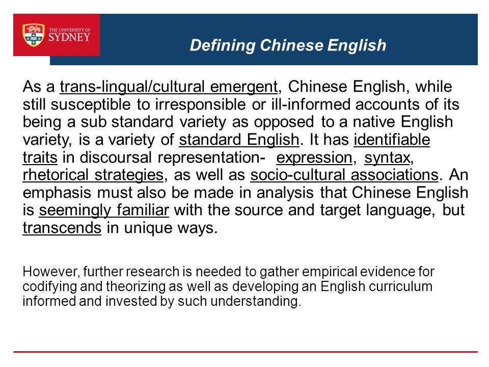 Defining Chinese English