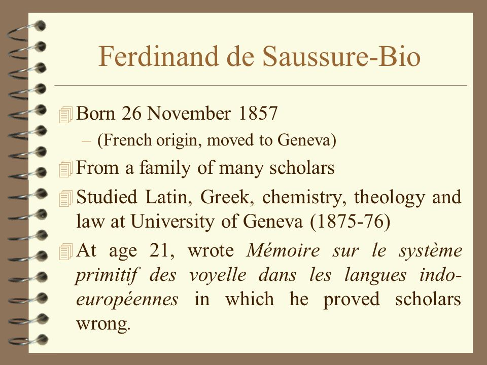 Ferdinand de Saussure-Bio