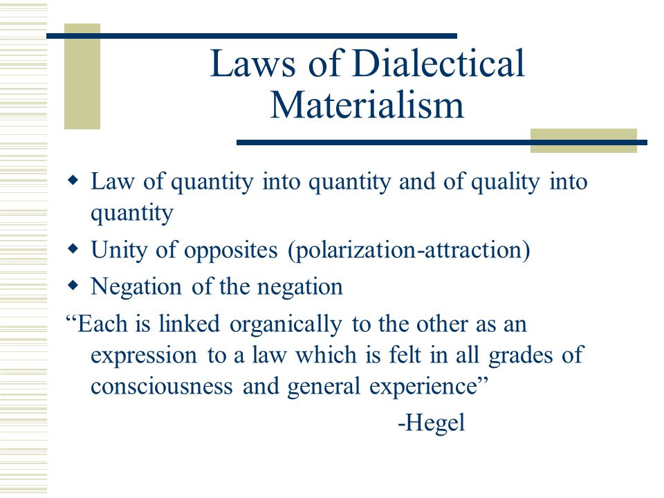 Laws of Dialectical Materialism