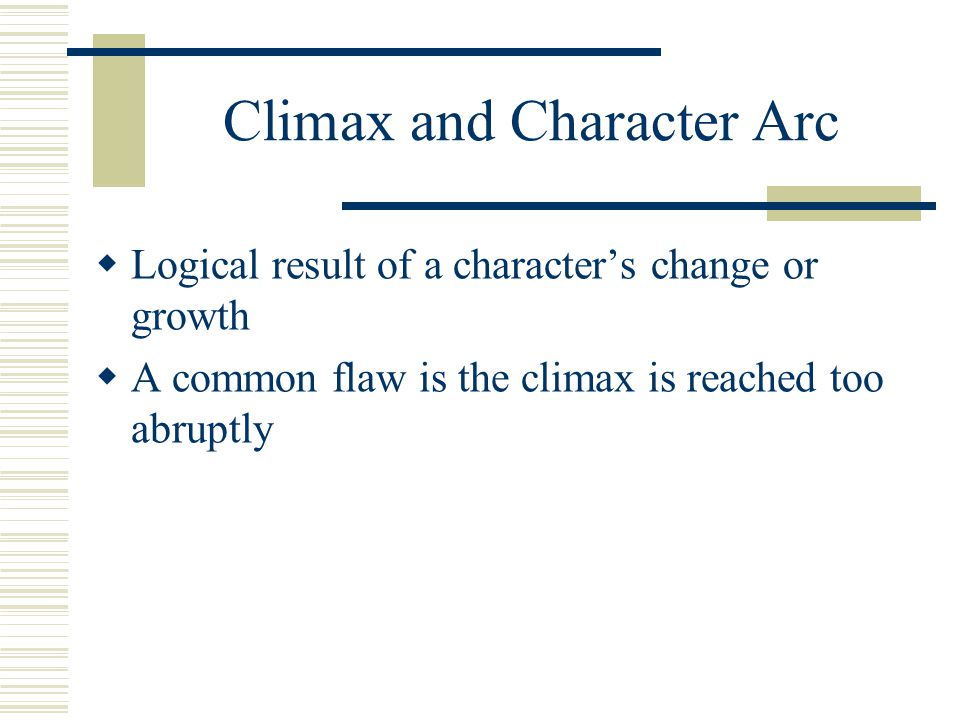 Climax and Character Arc