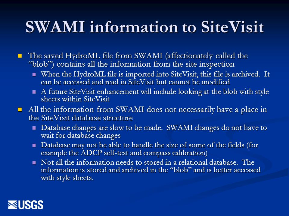 SWAMI information to SiteVisit