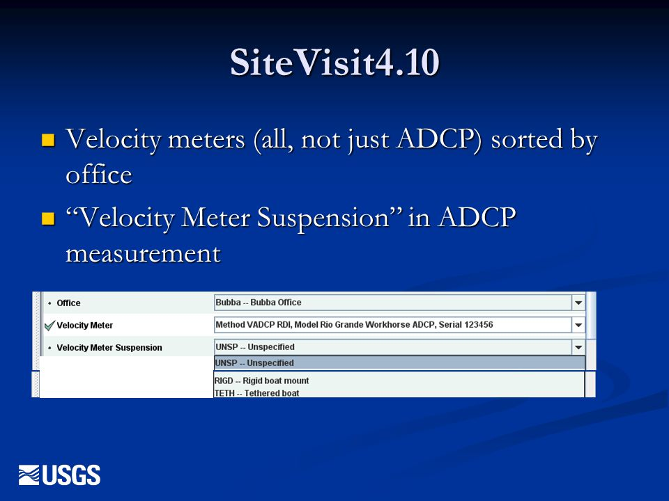 SiteVisit4.10 Velocity meters (all, not just ADCP) sorted by office