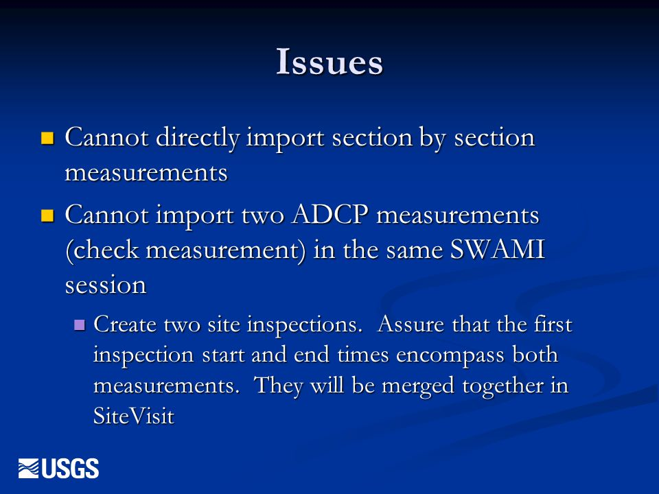 Issues Cannot directly import section by section measurements