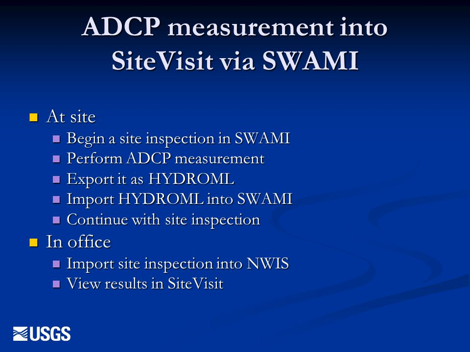 ADCP measurement into SiteVisit via SWAMI