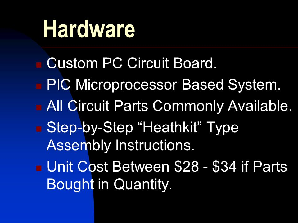 Hardware Custom PC Circuit Board. PIC Microprocessor Based System.