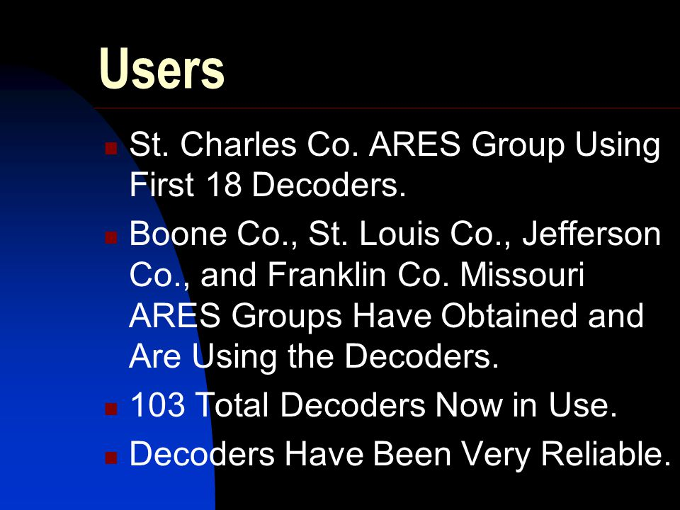 Users St. Charles Co. ARES Group Using First 18 Decoders.