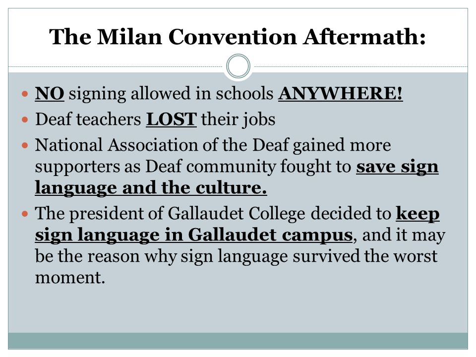 The Milan Convention Aftermath: