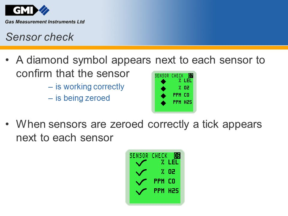 When sensors are zeroed correctly a tick appears next to each sensor