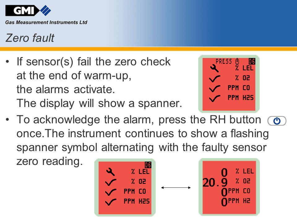 Zero fault If sensor(s) fail the zero check at the end of warm-up, the alarms activate. The display will show a spanner.