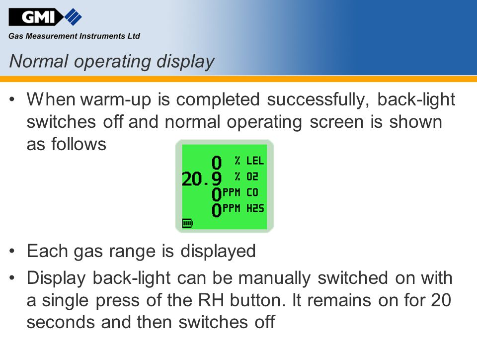 Normal operating display