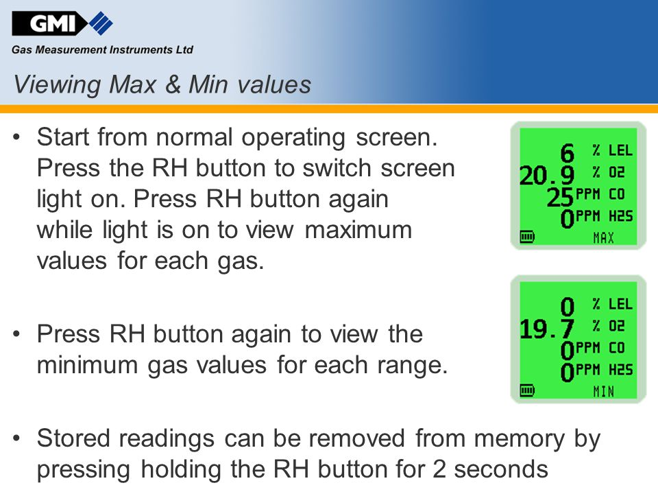 Viewing Max & Min values