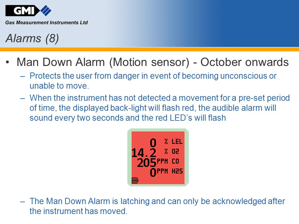 Man Down Alarm (Motion sensor) - October onwards