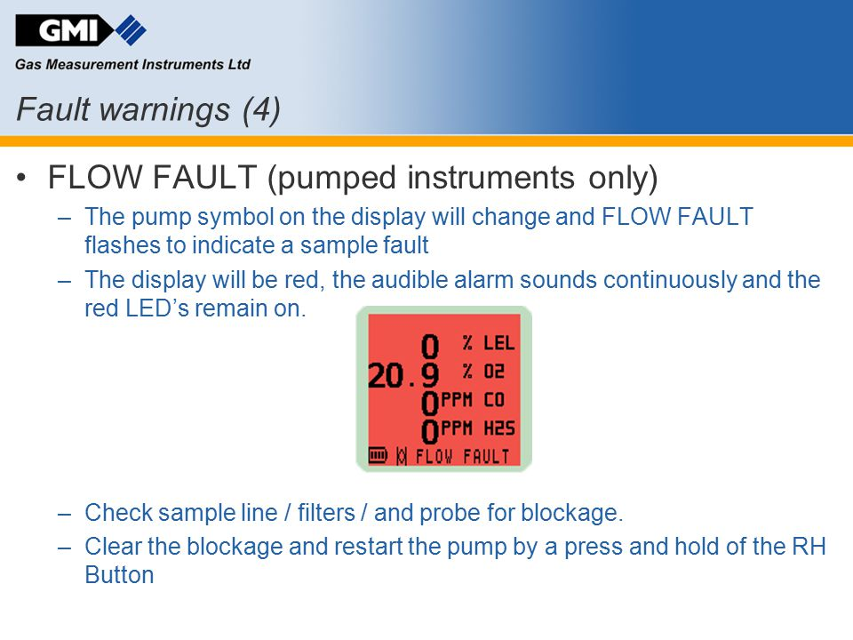 FLOW FAULT (pumped instruments only)
