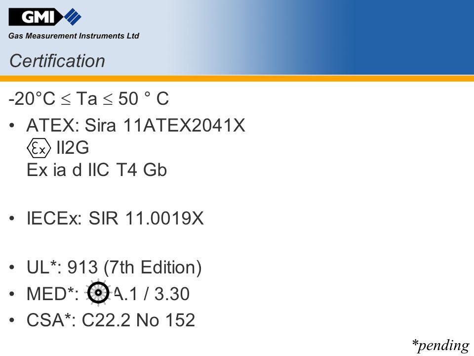 ATEX: Sira 11ATEX2041X II2G Ex ia d IIC T4 Gb