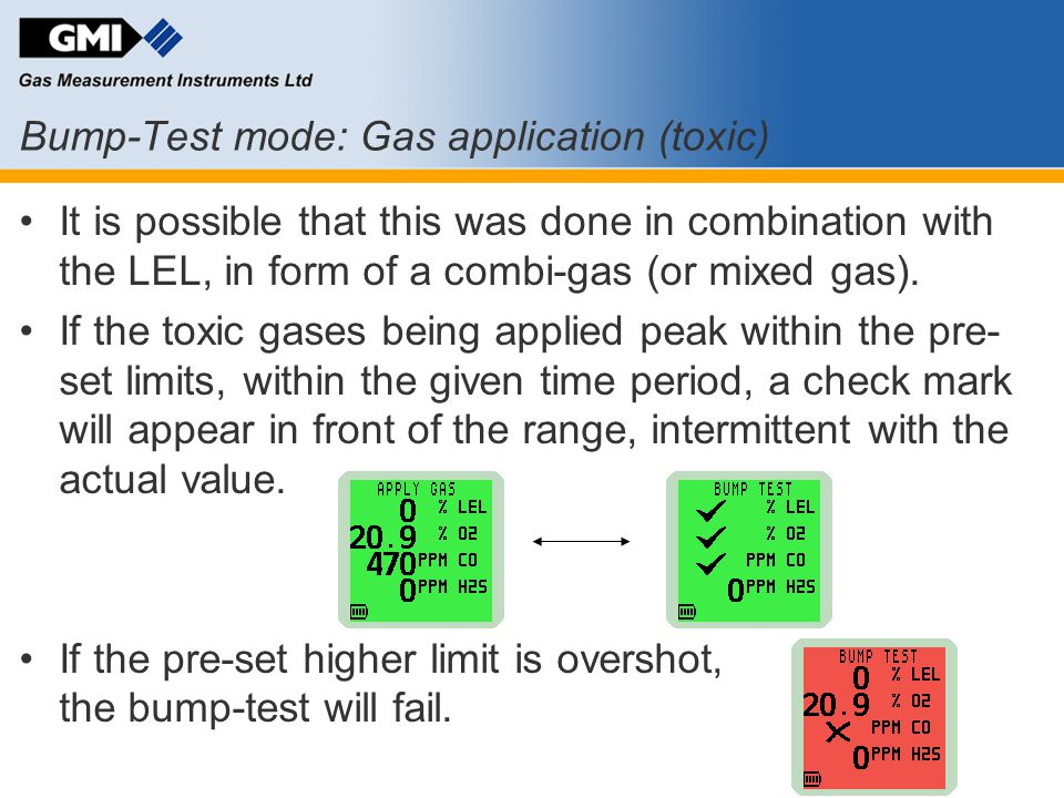 Bump-Test mode: Gas application (toxic)