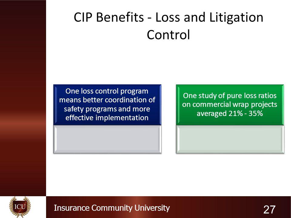 CIP Benefits - Loss and Litigation Control