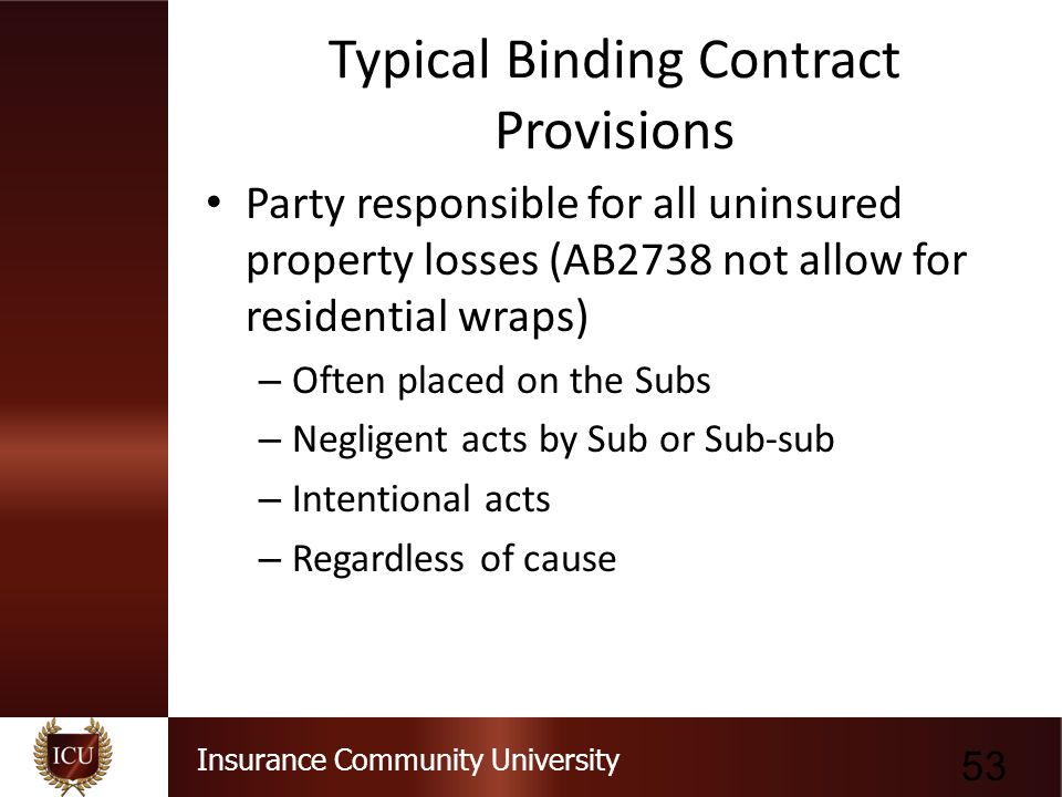 Typical Binding Contract Provisions