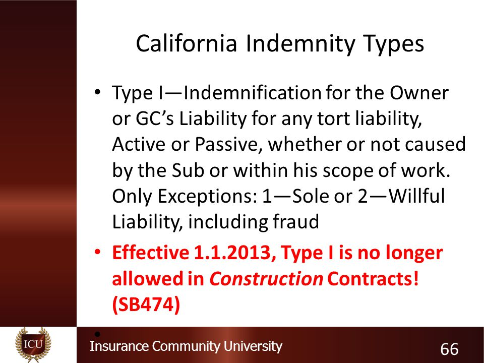 California Indemnity Types