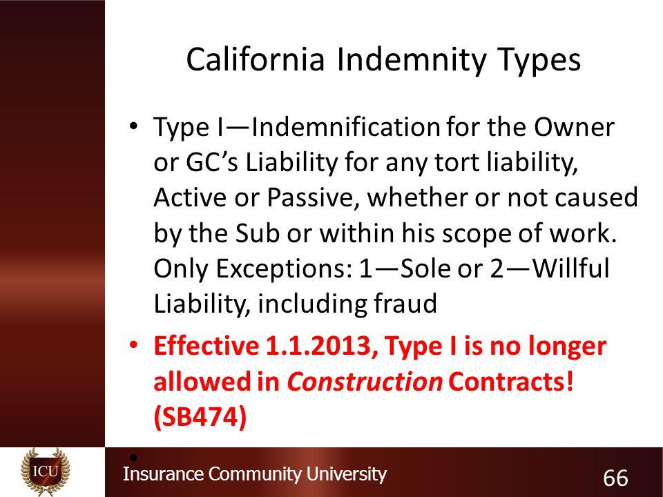 California Indemnity Types