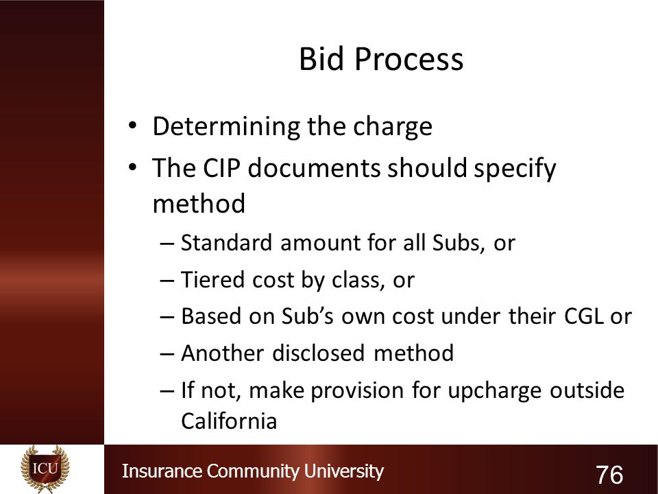 Bid Process Determining the charge