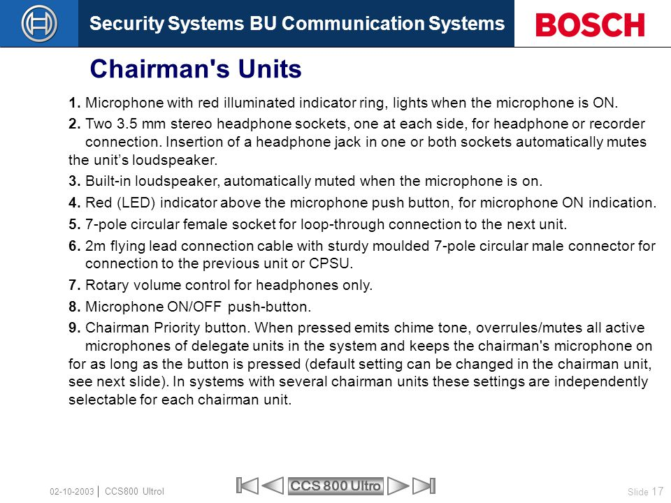 Chairman s Units 1. Microphone with red illuminated indicator ring, lights when the microphone is ON.
