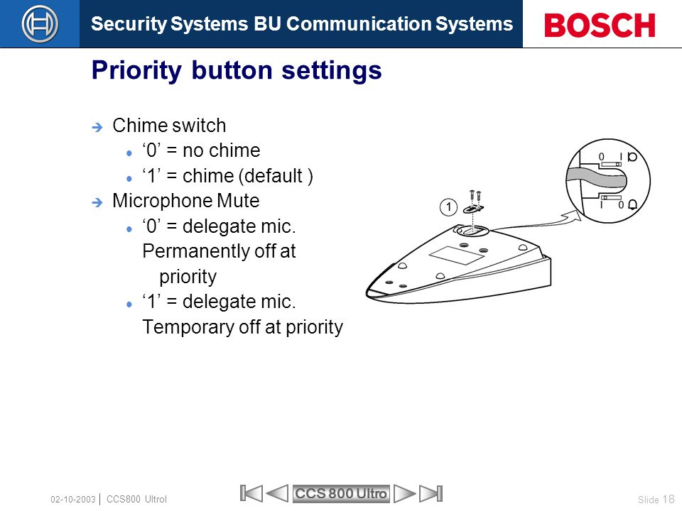 Priority button settings