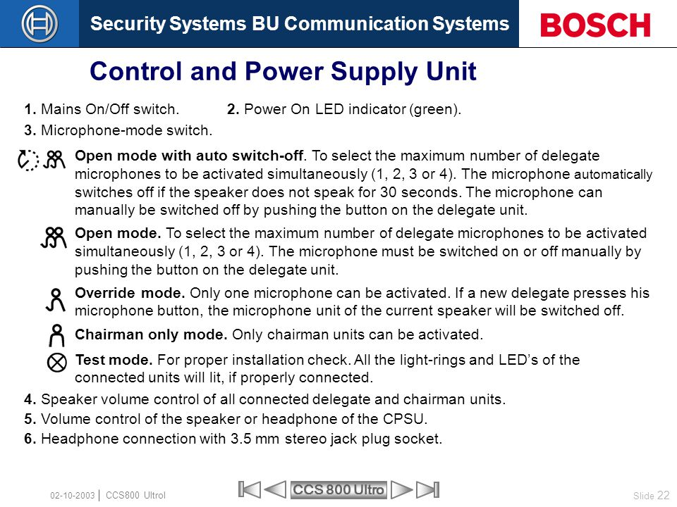 Control and Power Supply Unit