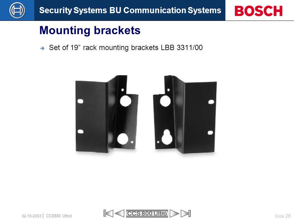 Mounting brackets Set of 19 rack mounting brackets LBB 3311/00