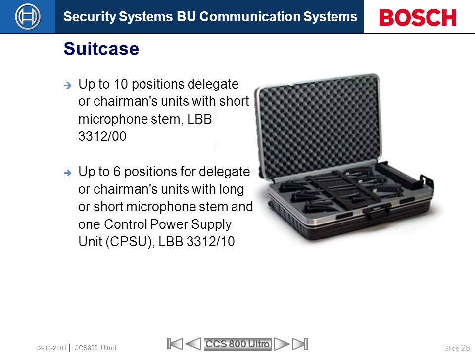 Suitcase Up to 10 positions delegate or chairman s units with short microphone stem, LBB 3312/00.