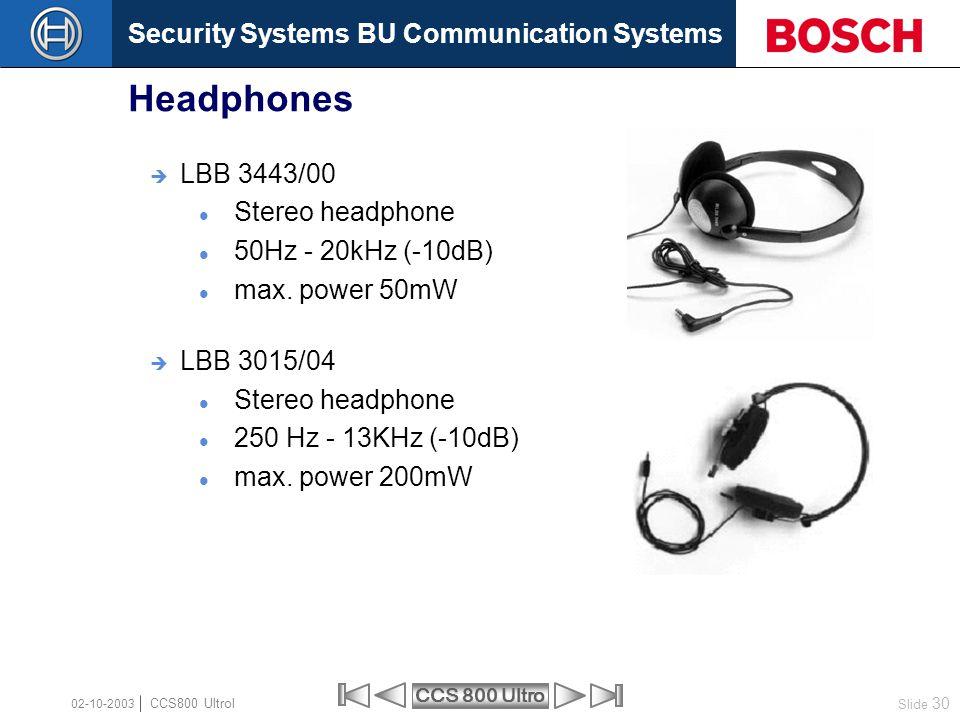 Headphones LBB 3443/00 Stereo headphone 50Hz - 20kHz (-10dB)