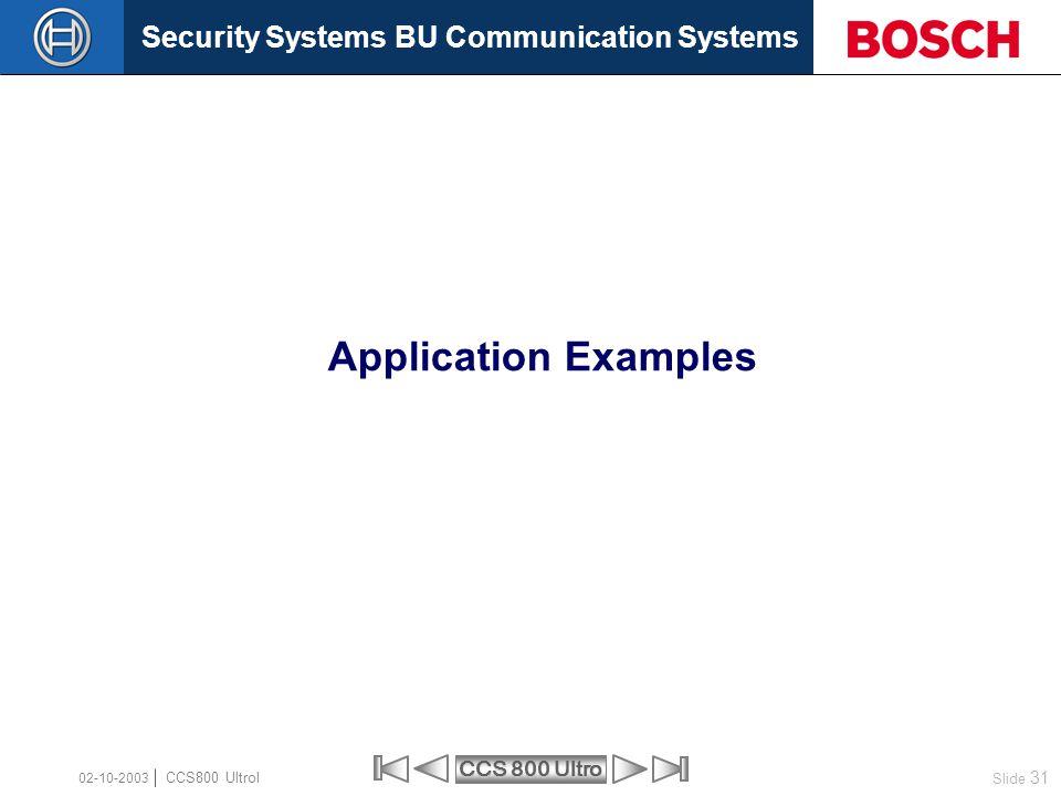 Application Examples 02-10-2003 CCS800 Ultrol