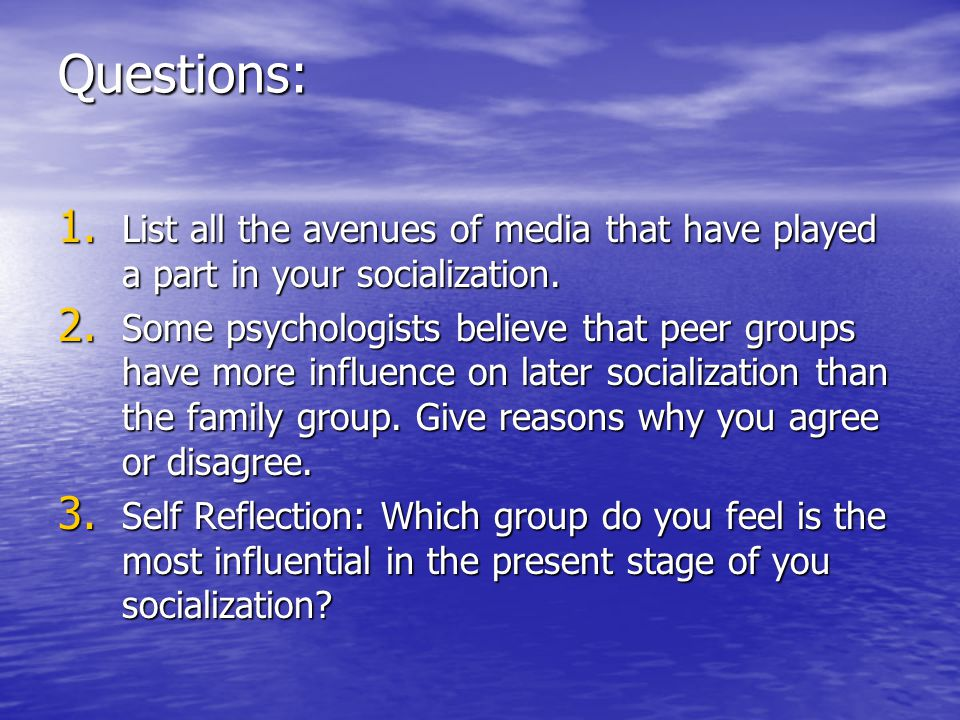 Questions: List all the avenues of media that have played a part in your socialization.