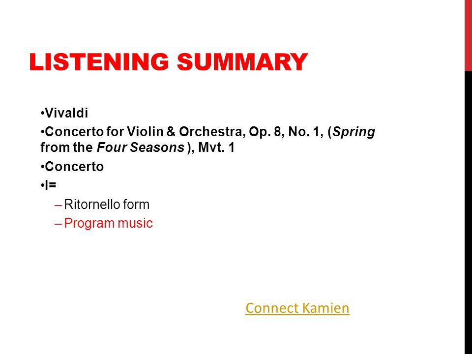 Listening Summary Connect Kamien Vivaldi