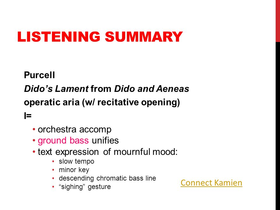 Listening Summary Purcell Dido's Lament from Dido and Aeneas