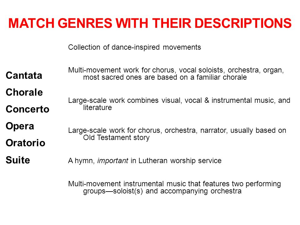 Match Genres with their descriptions