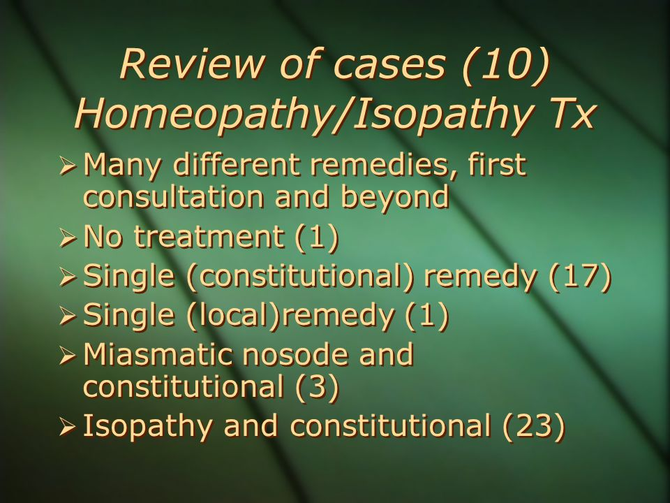 Review of cases (10) Homeopathy/Isopathy Tx