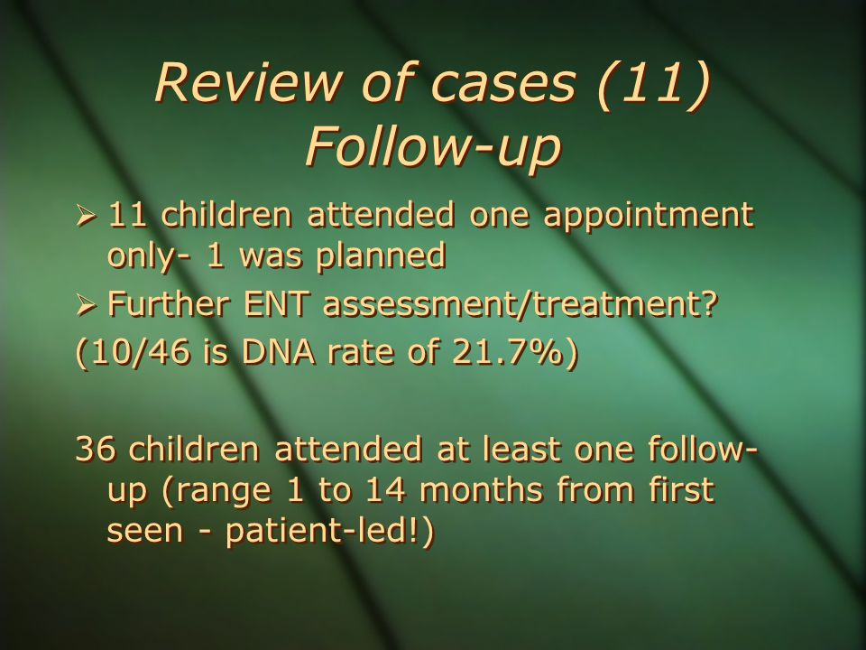 Review of cases (11) Follow-up