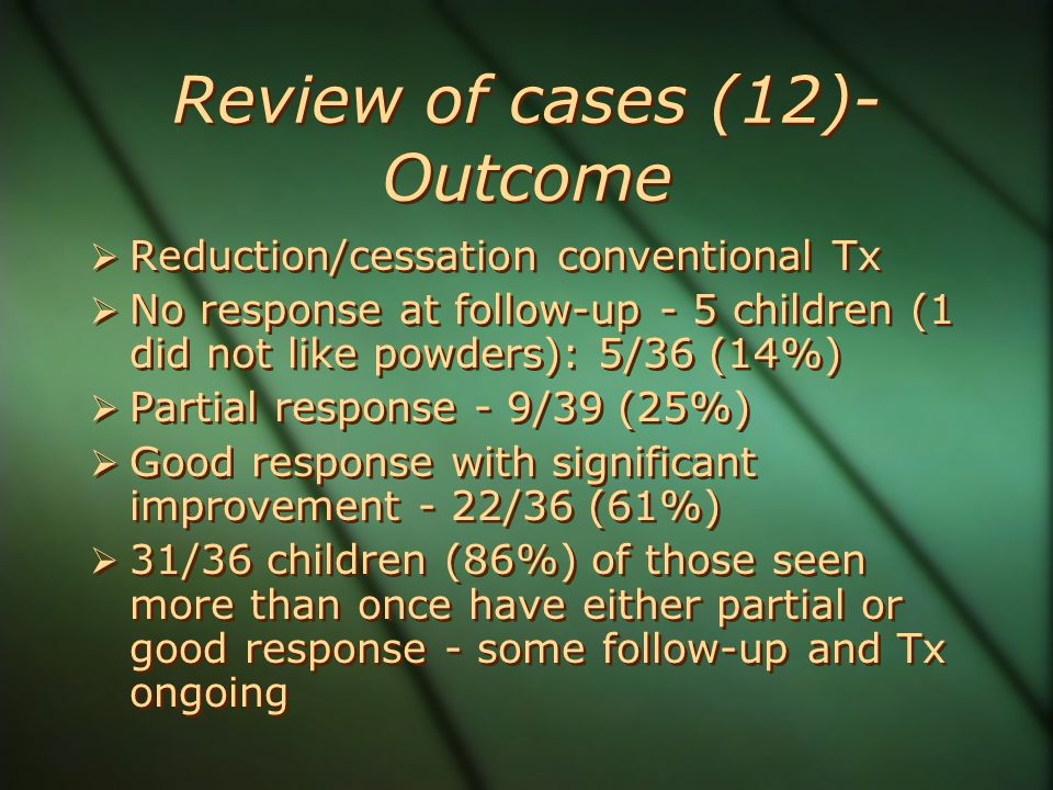 Review of cases (12)- Outcome