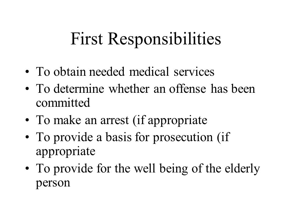 First Responsibilities